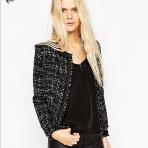 ASOS Boucle Jacket with Chain and Fringe Detail